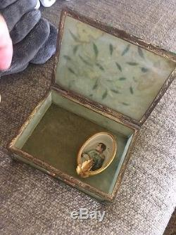 Old Collection Chinese Jade Box Coral Bone Metal Jewelry