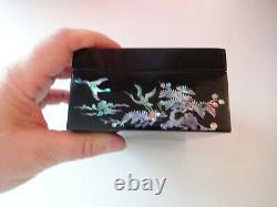 Old Vtg Chinese Wood Huanghuali Mother of Pearl Jewelry Cosmetic Cabinet Box