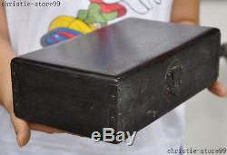 Old china Chinese black Rosewood wood pure Hand carved Jewelry Storage Box boxs