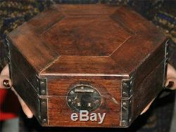 Old chinese huanghuali wood Hand carved Polygonal Jewelry Box storage box statue