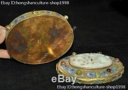 Old chinese silver 24k gold Cloisonne Inlay gem & jade Jewellry Jewelry Box