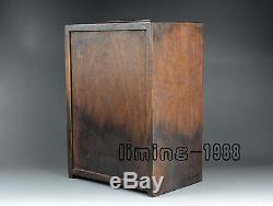 Old rosewood chinese huali wood carving chest drawer jewelry box cabinet antique