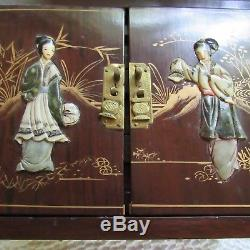 Oriental Wood Brass Carved Jewelry Box Keepsakes Dovetail Silk Large Chest VTG