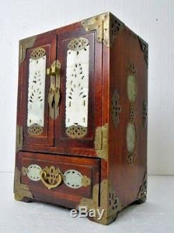 Oriental Wooden Jewelry Cabinet/Box Vintage Upright Brass Carved Jade Inlays EUC