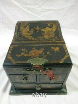Pretty Vintage Asian Dragon Phoenix Folding Mirror Lacquer Wood Jewelry Box (SP)