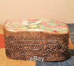 ROSE FAMILLE antique chinese pottery shard vase silver jewelry box porcelain art