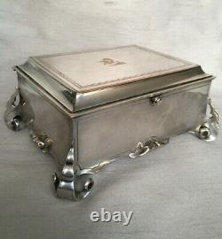 Rare Antique Silver Plate Footed Cigar Box Jewellery Casket Oriental East Asian