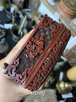 Rare Chinese Collect Lacquer Wood Hand Carved Hunting Jewel Jewelry Box Pot