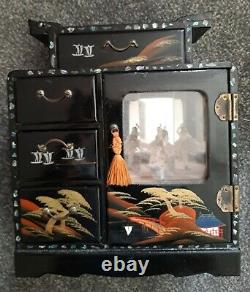 Rare Large Vintage Chinese Black Lacquered Musical Ballerina Jewellery Box
