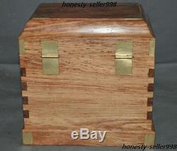 Rare Unique CHinese Huanghuali Wood Hand Carving drawer Makeup box Jewelry boxes