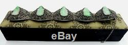 Rare old Chinese silver filigree & carved jade GuanYin bracelet W box