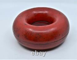 Red Black Lacquered Donut Jewelry Box Ceremonial Necklace Chao Zhu Chinese