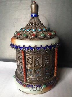 Silver Inlay Multi Color Chinese Box With Two Bangles And Jewelry Stones