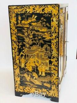 Stunning Antique Gilded Black Lacquer Chinese Export Jewelry Box