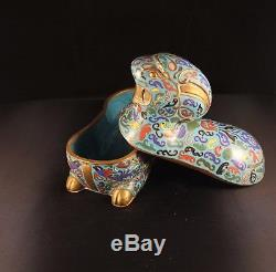 Superb Chinese 19th Centiry Cloisonne Censer Gilt Bronze Jewelry Box