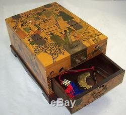 Traditional Chinese Asian Wood Jewelry Box Case Mirror Easel Makeup Fish Lock