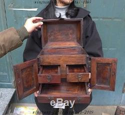 Unique Old Chinese Huanghuali Wood Hand-Carved Drawers storage box Jewelry boxes