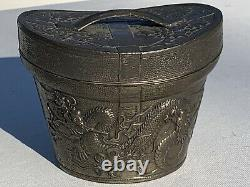 Unusual Antique Art Nouveau Silver Plated Jewelry Casket Figural Chinese Hat Box