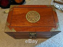 VINTAGE/ANTIQUE ASIAN SOLID WOOD JEWELRY BOX w BRASS ACCENTS