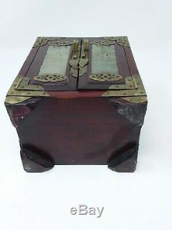 VINTAGE CHINESE ROSE WOOD JEWELRY/TRINKET BOX WithCARVED JADE & BRASS