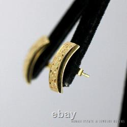 VINTAGE MINGS HAWAII BIRD IN PLUM RECTANGLE 14K YELLOW GOLD EARRINGS With BOX