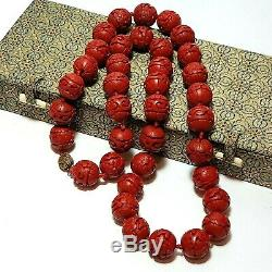 VTG Chinese Carved Red Cinnabar 15mm Bead 26 Beaded Necklace w Box 60 Grams