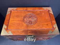 VTG Chinese Hardwood Red Silk Lined Jewelry Chest Box with Bat Pulls 4 Trays