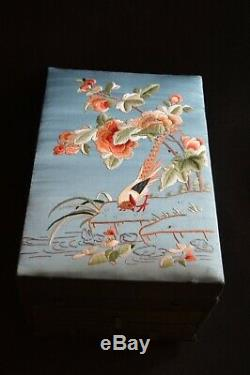 VTG antique Chinese embroidered large silk jewelry box pheasant flowers foliage