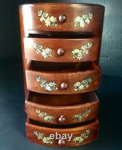 Vietnamese Huanghuali jewelry box inlaid mother of pearl