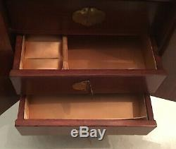 Vintage 12 Antique Chinese Wood Jewelry Box Hand Carved White Jade Accents