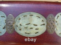 Vintage 20th Century Chinese Rosewood Carved Jade Inlay Jewelry Box