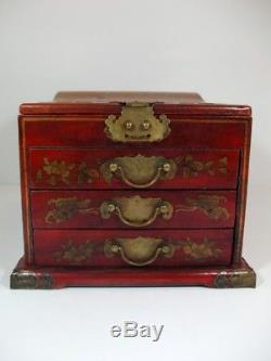 Vintage 3 Drawer Chinese Jewelry Box with Mirror Hand Painted Phoenix & Dragon