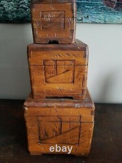 Vintage 3 Set Chinese Camphor Wood Carved Jewelry Box Nesting Home Decor