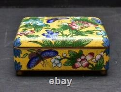 Vintage Antique CHINESE CLOISONNE Hinged Jewelry Holder Trinket Box Yellow
