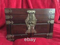 Vintage Antique Chinese Asian Wood And Brass Jewelry Box