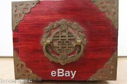 Vintage Antique Chinese Brass Jade Jewelry Box Chest With Jade Panels