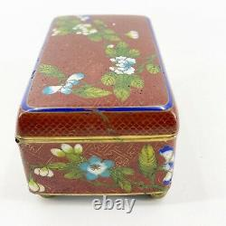 Vintage Antique Chinese Cloisonne Hinged Jewelry Trinket Footed Dresser Box Old