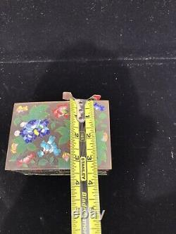 Vintage Antique Footed CHINESE CLOISONNE Enameled Copper Hinged Jewelry Box