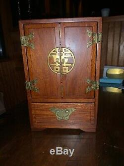 Vintage Antique Rosewood Chinese Asian Wood And Brass Jewelry Box