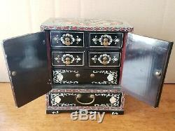 Vintage Asian 1950's Black Lacquer Mother Of Pearl Inlay Jewelry Cabinet/Chest
