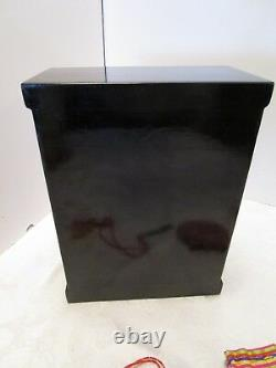 Vintage Asian Chinese Black Lacquer Pearl Inlay Jewelry Box Chest Lock & Key 10¼