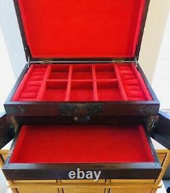 Vintage Asian Chinese Huge Wood & Brass 3 section Jewelry Box with Doors
