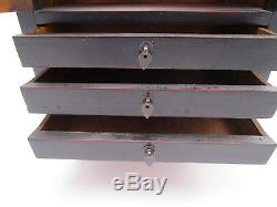 Vintage Asian Jewelry Box Chest Three Drawers Large Red & Black Wood