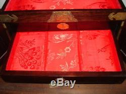 Vintage Asian Mother of Pearl Inlay with Brass Rosewood Jewelry Box withlock &key