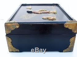 Vintage Black Lacquer Wood Oriental Jewelry Box with Inlay and Jade Geisha Girl