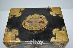 Vintage Black Lacquered Asian Jewelry Box Wood Brass & Mother Pearl 4-Drawer 303