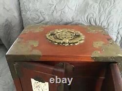 Vintage CHINESE JEWELRY CHEST BOX 60S Wood, MULTI INLAY JADE CARVINGS Brass