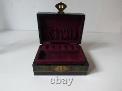 Vintage Carved Lacquered Chinese Jewelry Box Geisha Black Brass Silk
