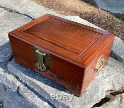 Vintage Chinese Asian rosewood jewelry box fitted interior for rings bracelets