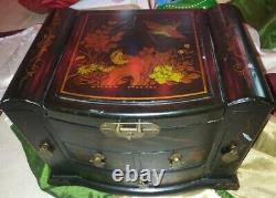 Vintage Chinese Black Lacquer Detail Wood Jewelry Box with Mirror Drawers Hooks